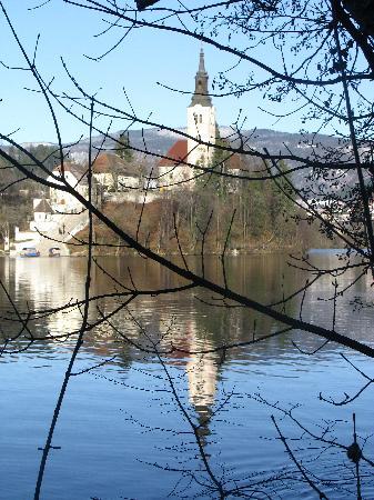 Vila Bled: La vista del lago dalla passeggiata sotto la villa