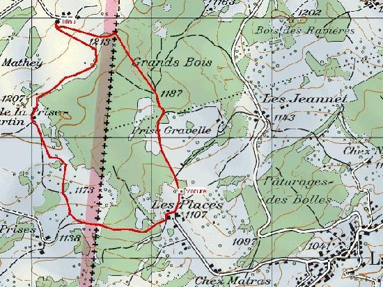 Le Tillau : Parcourt depuis la Côte-aux-Fées suisse