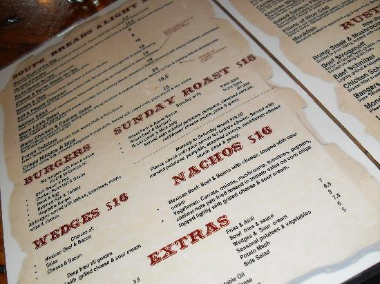 The Ranch Cafe Bar & Grill: Menu