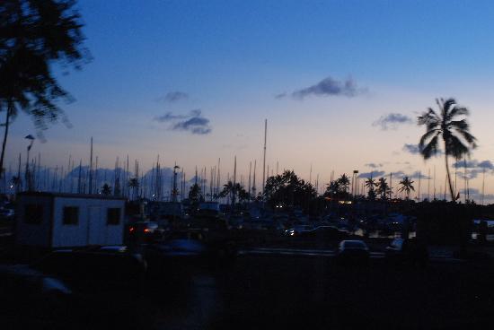 Waikiki Trolley: ホノルルハーバー(あわてて撮ったのでピンボケ・・・)