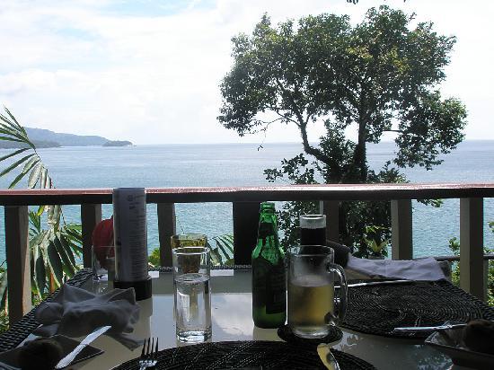 Centara Villas Phuket: view from the balcony, through beer and coke
