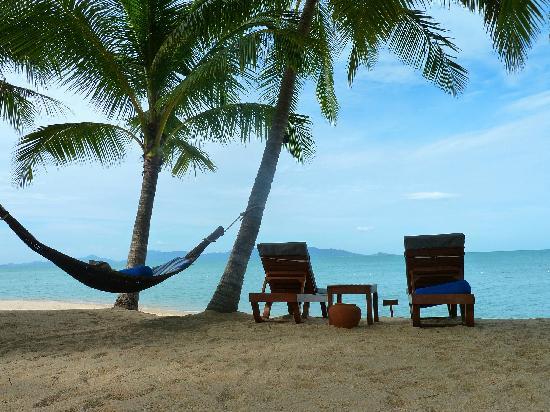 Santiburi Beach Resort & Spa : Strandbereich mit eigenen Liegen und Hängematte