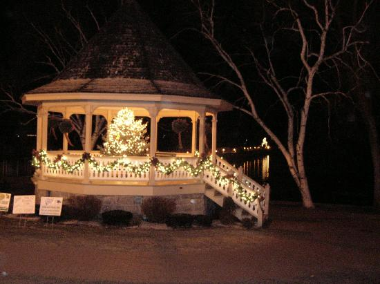 Gray House: Gazebo by the Lake at Night