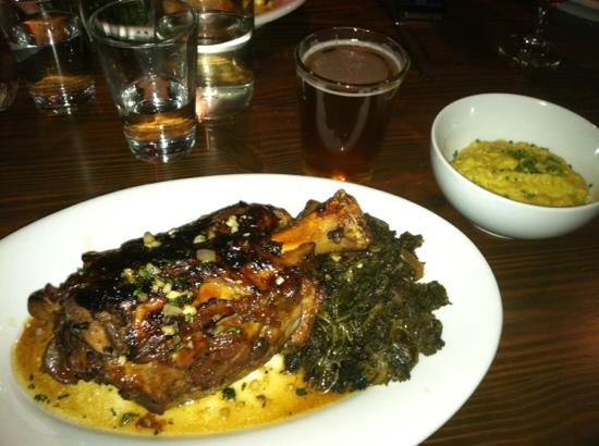 Wrecking Bar Brewpub: Pork shank with poblano grits and kale.