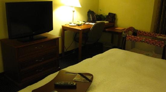Hampton Inn & Suites Atlanta - Galleria: TV, study area in bedroom - notice the laptop cushion