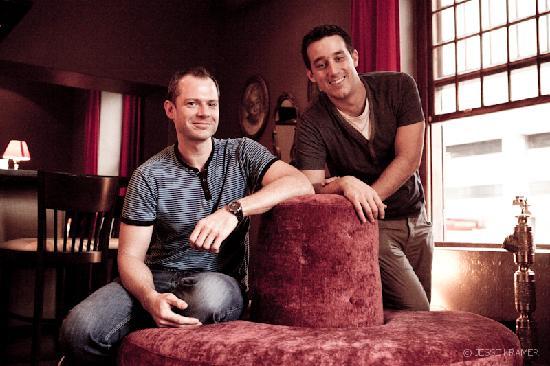 Alexander Bar, Café & Theatre : The owners Nicholas & Edward on the Sofa Revolve
