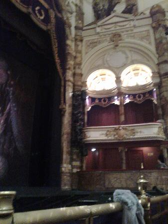 London Coliseum : ...private boxes viewed from the front row.