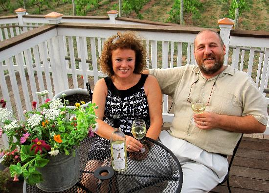Hopewell Valley Vineyards: Sergio & Violetta Neri toasting their Pinot Grigio whose net proceeds goes towards autism resear