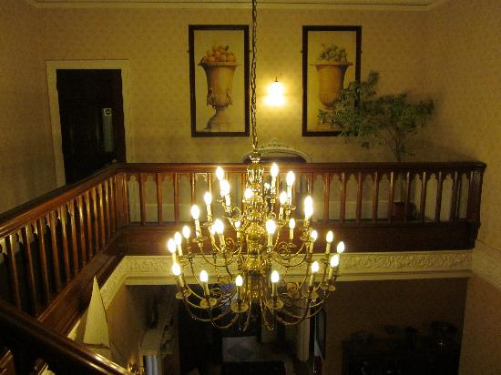 The Alverton: Chandelier above lobby