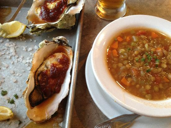 Abalone Inn: Oysters, lentil soup and Lagunitas IPA from Pricillas's  down the street!