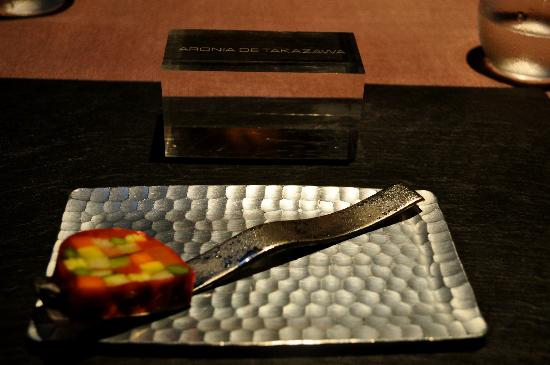 Takazawa: Signature dish - The Ratatouille  Uses 15 types of vegetables each prepared differently. Takes a