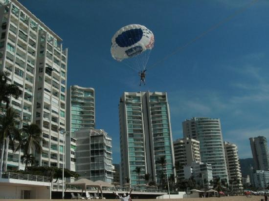 Acapulco, Mexico: Me landing my parasail on the bay!