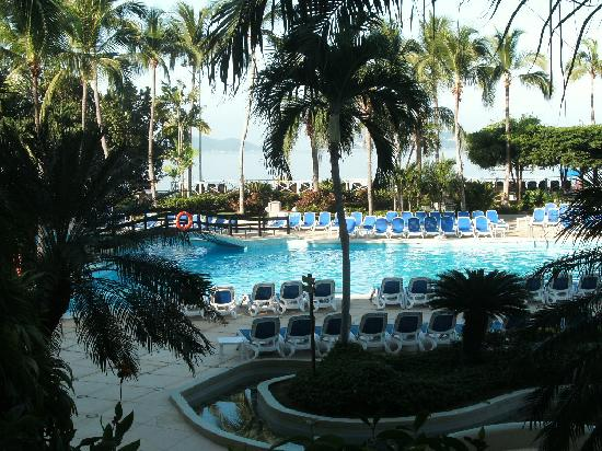 Acapulco, Mexico: The pool at our hotel with the bay in the background.