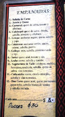 La Casa de las Empanadas Cafayate: Menu