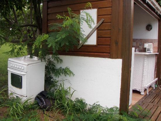 Les Islets Fleuris: encombrants collés à la cuisine avec nid d'abeilles ds lea paroie