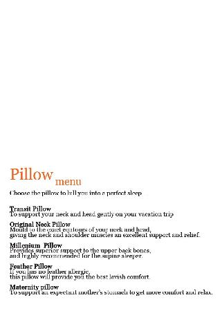 Anantara Seminyak Bali Resort : Pillow Menu description