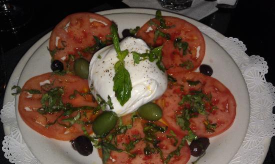 Tutti Santi by Nina: Fresh burrata with olives, sliced tomatoes and basil