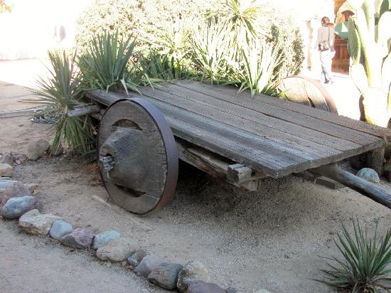 San Miguel, CA: cart with wooden wheels