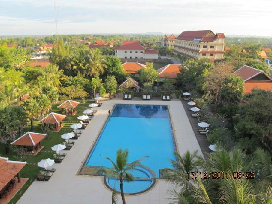 Royal Angkor Resort & Spa: A beautiful view from our balcony towards the pool and Angkor Wat