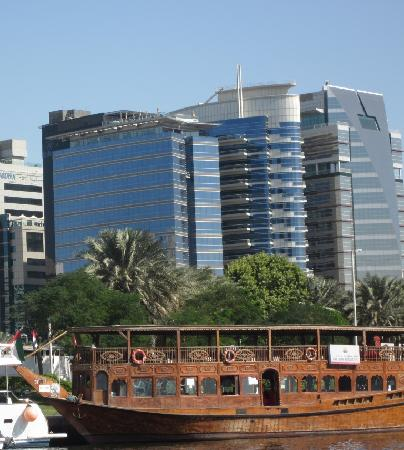 Hilton Dubai Creek: Hilton is the first building on the left; pool is on roof