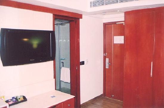 Sarovar Portico Jaipur: From the study area, looking towards the entrance. The interesting bathroom is to he left.