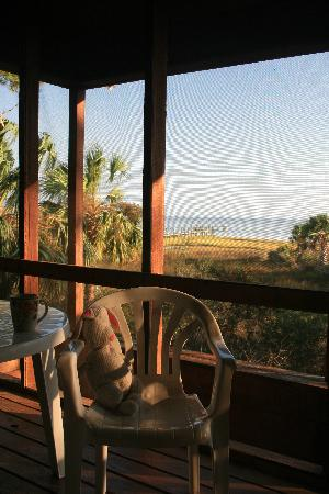 Old Saltworks Cabins: view from the screened porch Bay House