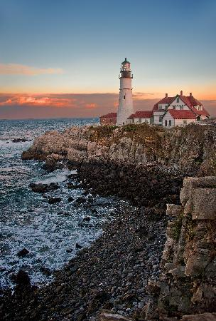 Cape Elizabeth, เมน: Sunset view from left