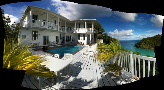 The Inn On The Bay: Pano of Hotel from Deck