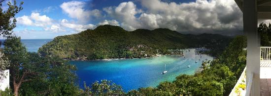 The Inn On The Bay : Pano of Marigot Bay from Hotel