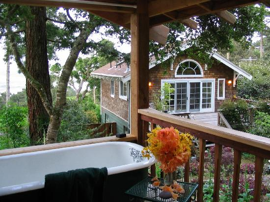 Inverness Secret Garden Cottage: Cottage & Tomales Bay from outdoor tub/gazebo