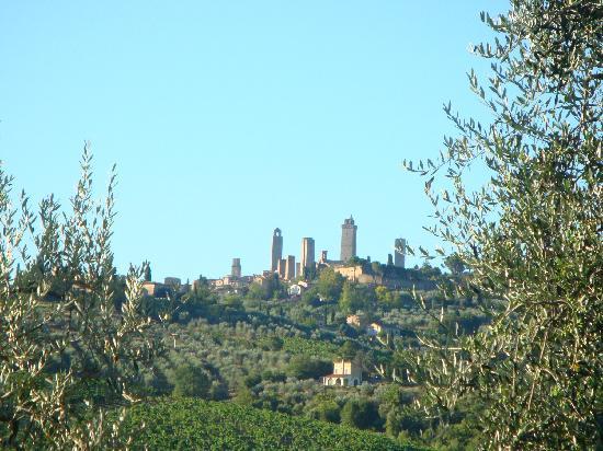 Poderi del Paradiso: vue de San Gimignano à partir de la piscine