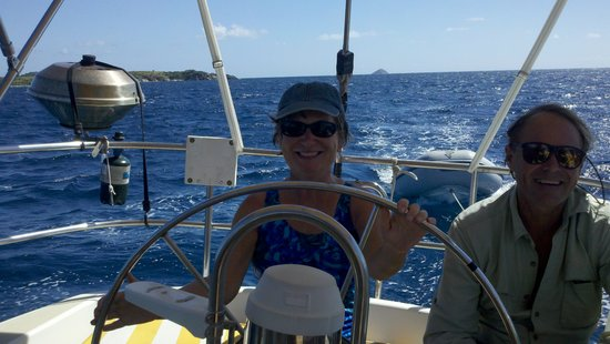 Virgin Islands Day Sailing: Guest Christine gets a turn at the wheel.
