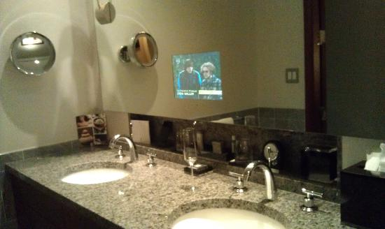 The Ritz Carlton Charlotte Sink With Built In To Mirror Bathroom TV
