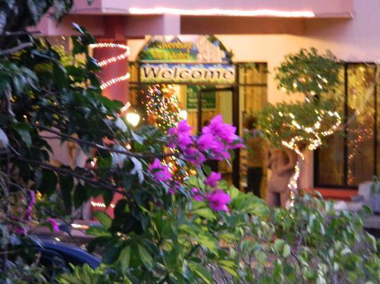 Adventure Inn: Entrance and Christmas decor