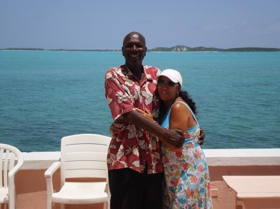 Club Peace & Plenty Exuma Island: Toni D and Doc at Club Peace & Plenty waterfront dock.