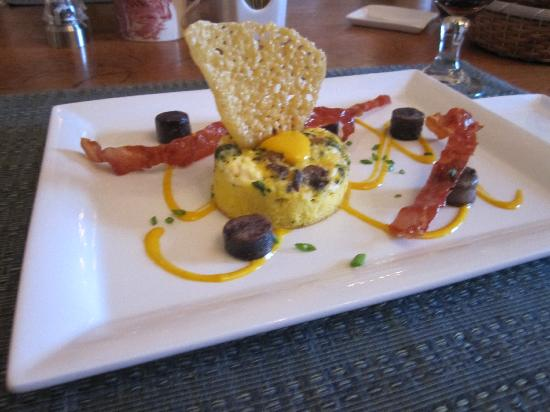 Foster Harris House: Fabulous fritatta with prosciutto and truffled potatoes; served with homemade ginger scones, and