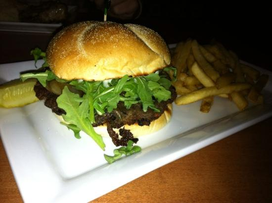 White Cap Grille: Burger with arugula, onions, truffle mayo & skinny fries