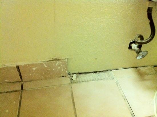 The Lodge at Pensacola: Tiles missing in the bathroom.