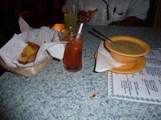 Fisherman's Wharf: Conch Chowder and Garlic Bread