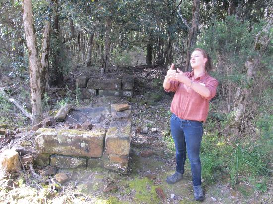 Gordon River: Emily explaining the history of Sarah Island