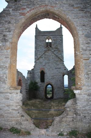 Burrow Mump: The ruined church on St, Michael's ley-line