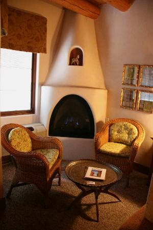 The Historic Taos Inn: The kiva in our room.