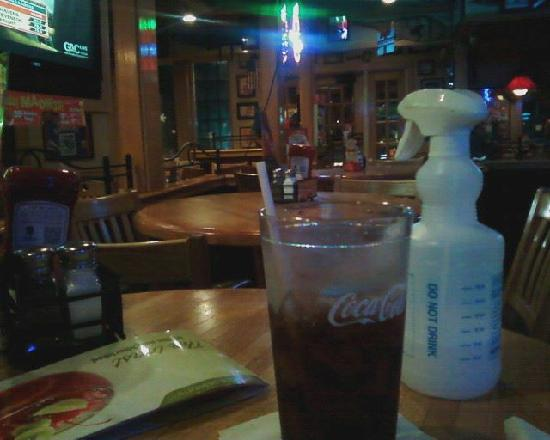 Applebee's: Cleaner bottle left on table...