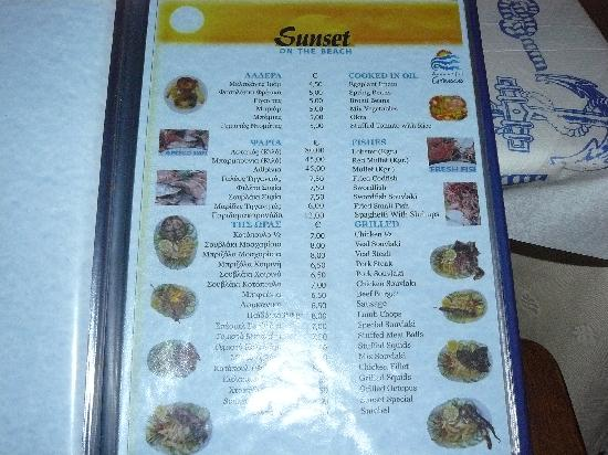 Sunset Restaurant: la carta
