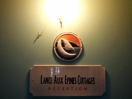 Lance Aux Epines Cottages: the sign on the office with a few 'guests'