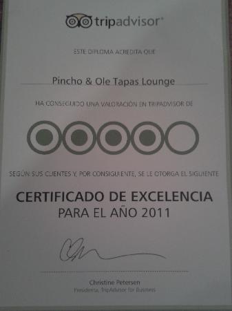 Pincho & Ole: certificado