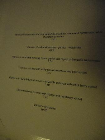 Restaurant Entler: 7,50 euros le dessert