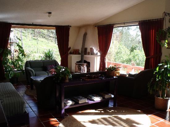 Ali Shungu Mountaintop Lodge: Living room with wood-burning stove
