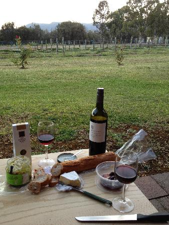 Hunter Valley Resort: Wine and cheese on the balcony of our 'Vineyard Room'