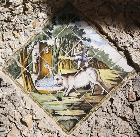 Santuario di Santa Lucia : particolare raffigurante la leggenda del vaccaro vicino alla fonte